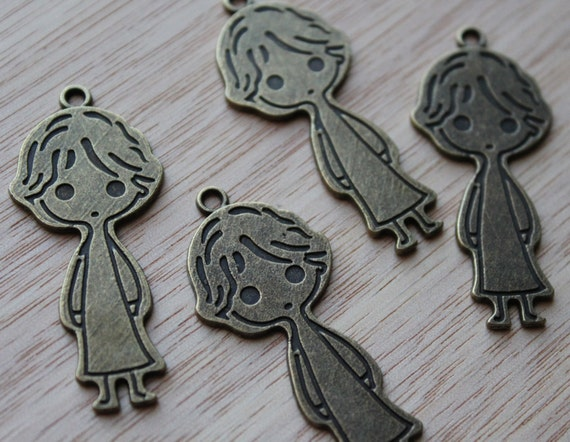 Jewelry Supplies- 2 pieces. 21mm Antique Bronze Boy Charms Pendant  - Little Laser Lab