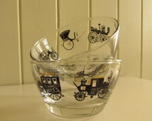 Two Libbey Horseless Carriage Sundae Dishes - Mid-Century Black and Gold on Glass