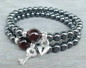 Key to my heart couple bracelet His and Her bracelet set Sterling silver Heart Lock and Key, Hematite, Garnet for Deep love & Protection