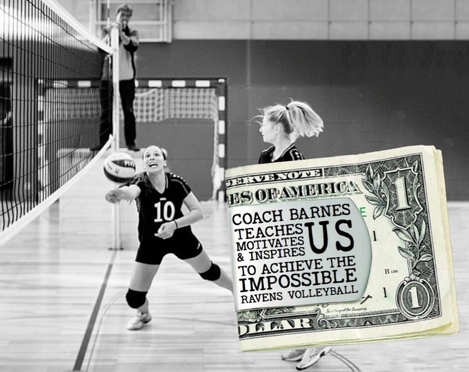 Volleyball Coach | Volleyball | Coach Gift | Gift for Coach | Coach Appreciation | Appreciation Gift | Custom Money Clip | Korena Loves