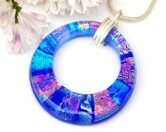 Donut Pendant - Dichroic Glass Pendant - Fused Glass Jewelry - Multicolor Blue Art Glass Round Necklace