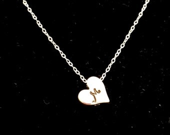 Tiny Necklaces for Women  Silver Heart Minimal Charm with Hand Stamped Initial