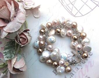 Pearl Cluster Bracelet, Freshwater Pearl Cluster Bracelet, Swarovski  Pearl Cluster bracelet,  Sterling Silver Flower clasp