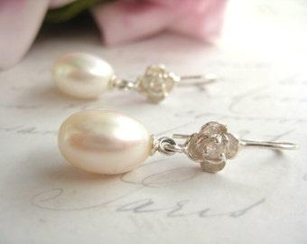 Bridal Earrings, Freshwater Pearl Tear Drop Earrings, Wedding Earrings, Bridal Jewellery, Wedding Jewelry,   CZ rose flower fitments