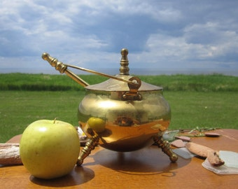 Brass Fire Start Kettle  Kindle Fire Starter Kettle Ash Pot Pumice Stick Stone Wand Cape Cod FIRE STARTER Smudge Cauldron 3 Footed