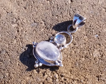 925 Sterling Silver Large Rainbow Moonstone Pendant 46MMX26MM With Bail 40MMx26MM With out Bail