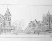 Vintage Signed Wally Exum Seattle Victorian Architecture Street Scene Print Bank Commissioned Historical Sketch West Coast Artist