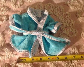 VINTAGE BABY DOLL terry cloth blue robe doll