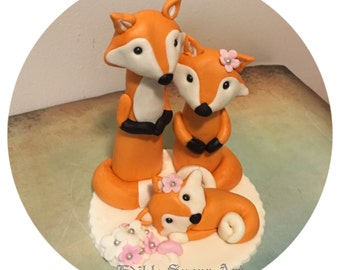 WOODLAND FOX BABY Shower Fondant Cake Topper baby girl gender neutral fondant fox