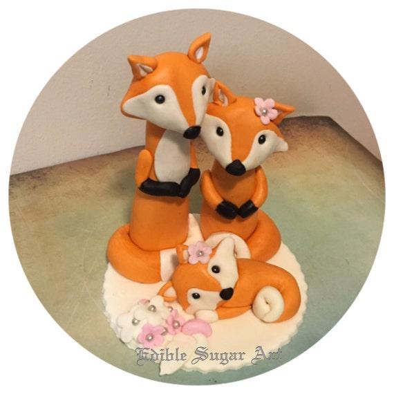 WOODLAND FOX BABY Shower Fondant Cake Topper baby girl gender