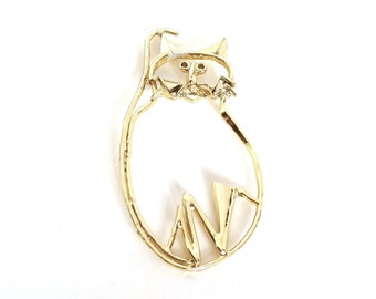 Vintage Cat Pin Brooch Gold Metal Very Large Big Size Figural Mod Abstract Unique Gift for Cat Lover