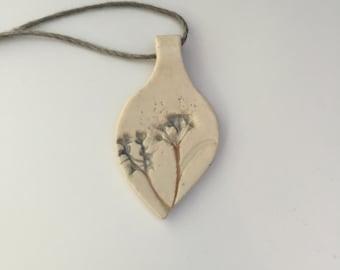Hemp & Stoneware Pendant Necklace