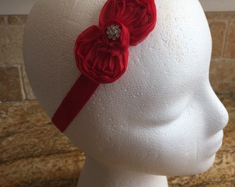 Small Red Flower Hair Bow Headband, Newborn Headband, Girls Headband, Baby Girl Hair Bow Headband, Infant Girl Headband, Wedding Headband