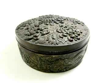 antique metal jewelry box flowers mums Chinese motif
