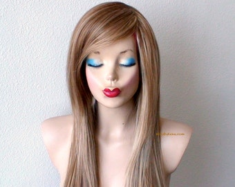 Brown/ blonde wig. Long straight layers hair long side bangs wig. Quality heat resistant wig for daytime use or Cosplay.