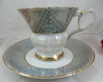 1930s Vintage Blue Green Lusterware Iridescent Footed Teacup and Saucer Japanese Tea Cup