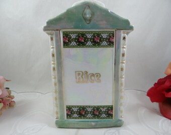 1930s Vintage Mepoco Made in Germany Lusterware Rice Canister with Lid - Charming