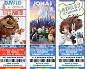 Secret Life Of Pets Invitation for Birthday Party - Ticket Style Invitation