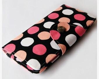 Colorful Dots WOMEN VEGAN WALLET, Bifold Wallet, Women Wallet, Long Wallet, Women Clutch Purse