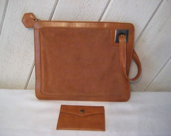 Sienna handbag, Medium Brown seude leather envelope purse, formal evening clutch, 1970s, bags and purses, change purse, 1370