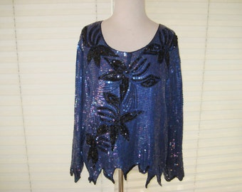 Navy blue, black sequined top, Formal party blouse, New Years Eve, 1980s clothes,  Royal Feelings, size large to extra large