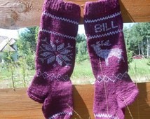 Knit Christmas Stocking Hand Knitted Personalized with Reindeer, Christmas Gift Christmas Decoration Maroon Silver