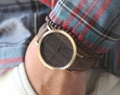 Wood Watch, Walnut Wood Gold Watch, Brown Leather Wood Strap, Groomsmen Gift - HELM-WG