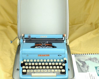 Refurbished  1957 Teal Blue Royal Portable Quiet Deluxe Typewriter  W/ WARRANTY