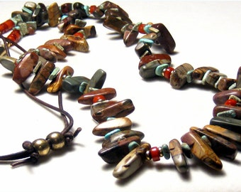Jasper Turquoise Coral Brass Beaded Leather Necklace Bohemian Jewelry Tribal Jewelry