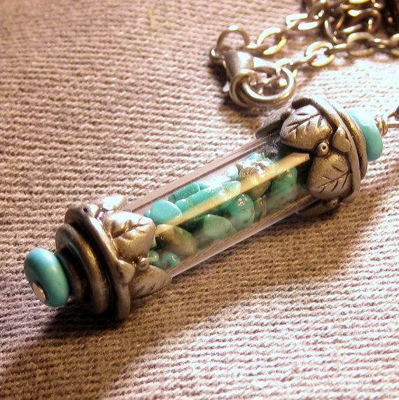 Turquoise Chip Vial Necklace Antiqued Silver