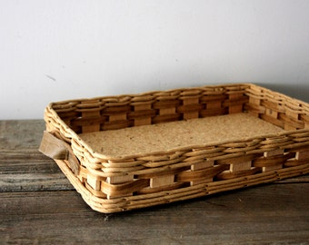 Vintage Woven Tray with Leather Handles