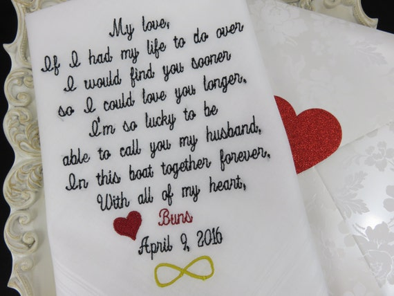 Wedding Gift From Husband To Wife : Groom Handkerchief-Embroidered Wedding Gift-HUSBAND and WIFE- Gift for ...