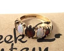 Vintage Gold Garnet Ring, Garnet Opal Ring, 9ct Ring, 5 stone Garnet and Opal Ring, Red Gold Ring, Garnet Ring, Size Q, Size 8.25