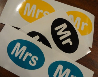 2 sets Mr & Mrs Cup Decals DIY Vinyl Sticker Tag Mens Gift Tumbler Tea Black White Green Oolong Wedding Decal Bride Groom Coffee Cup Label