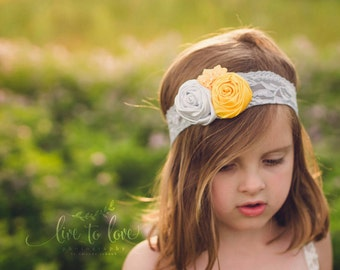Gray silver yellow satin rosette flower lace stretchy headband photo prop custom