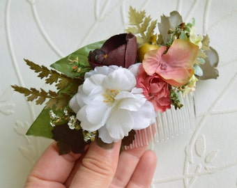 Woodland hair comb, Bridal hairpiece, Wild Flower headpiece, Wedding hair flower, Flower hair comb, Fall headpiece, Olive green, Dusty pink