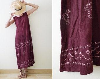 vintage 100% cotton deep purple maxi dress, tie dyed sleeveless dress, violet sun dress, bohemian, hippie, summer, gypsy, made in India, S-M