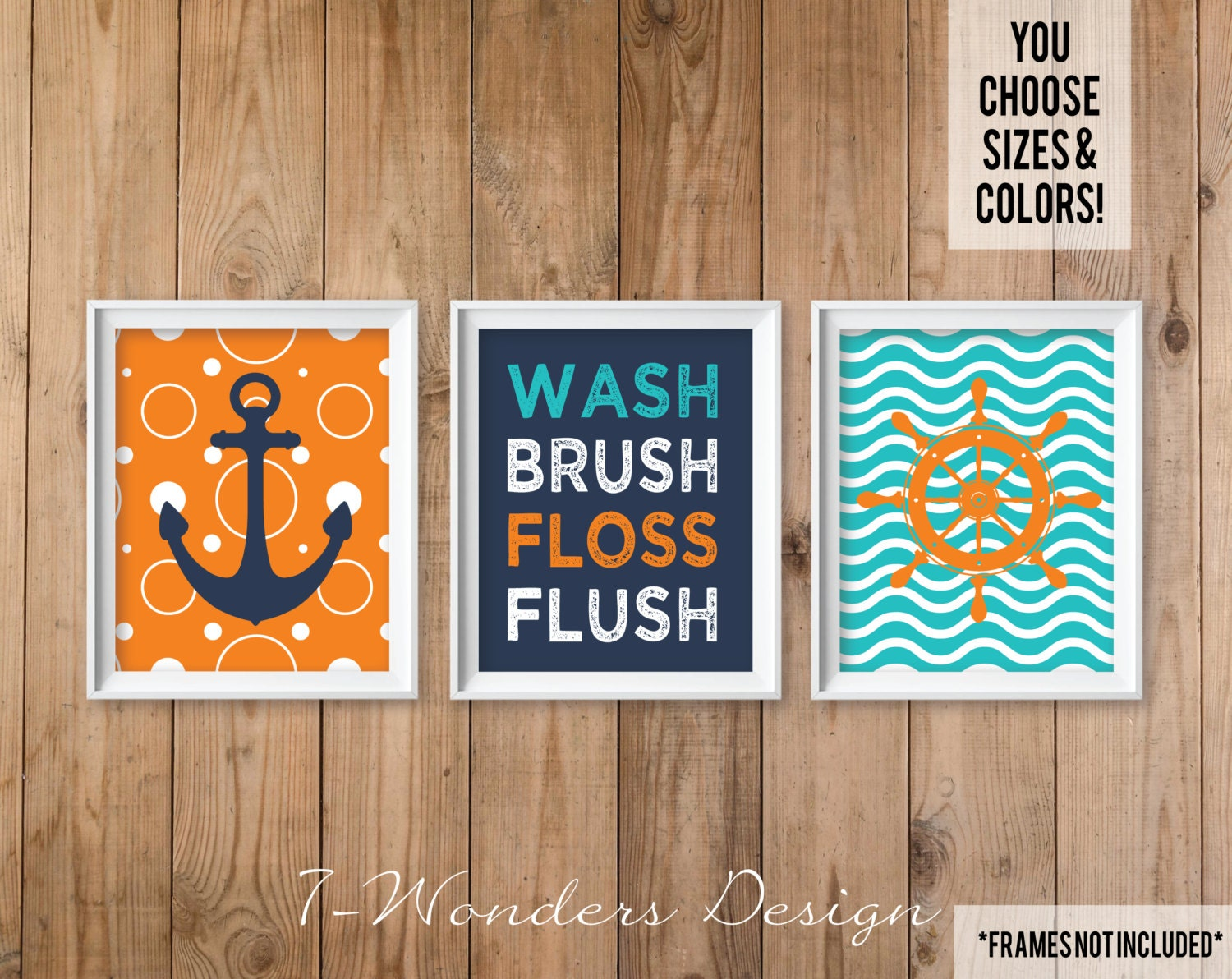 Nautical Kids Teens Bathroom Decor Wall Art Wash Brush Floss