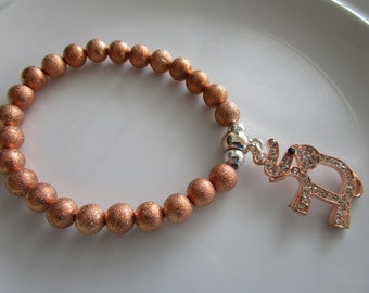 Rose pink gold colored elephant charm bracelet - charm jewelry, rose gold bracelet, pink gold bracelet, elephant bracelet, elephant charm
