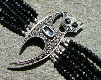 Cat Bracelet, Cat Jewelry, Cat Lover Gift, Cat Brooch, Vintage Cat, Brooch Vintage, Art Deco Jewelry, Art Deco Bracelet, Black Spinel