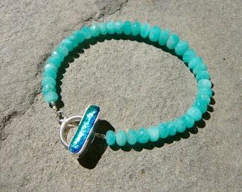 Amazonite Bracelet, Boho Bracelet, Stacking Bracelet, Dichroic Glass, Glass Bracelet, Gemstone Bracelet, Blue Bracelet, Amazonite Jewelry