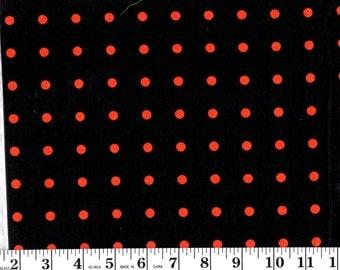1 Yard, Orange Dots on Black Cotton