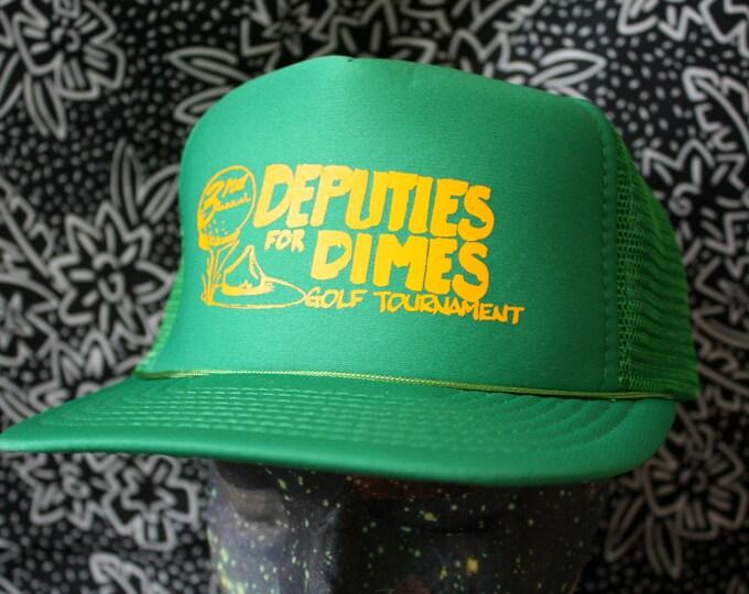 Featured listing image: Vintage Trucker Snapback Baseball Cap. Retro Mesh Back Deputies For Dimes 80s Baseball Cap. Hipster 80s Ironic Golf Mesh Trucker Cap