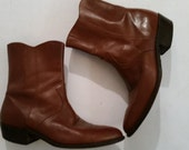 Vintage Cowboy Boots 1970's Men's Zip Up Ankle Boots Brown Leather Santa Fe Boot Co. Size 11 1/2 made in the USA
