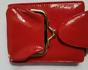 "80's Wallet Cherry Red Krinkle Patent Vinyl Red Billfold Coin Section Folding Money Section Credit Card Section Snap Close 3 1/4""  x   5"""