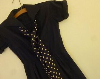 50's Dress Boho Summer Cotton Frock Navy Blue Shirt Waist with Polka Dot Sash/Tie at Neck Metal Zipper  Size 6