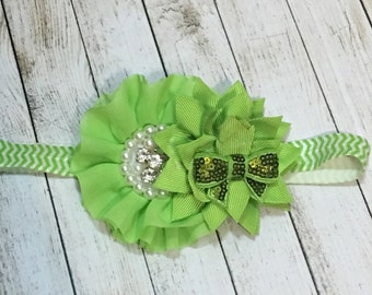 Lime green flower and bow headband