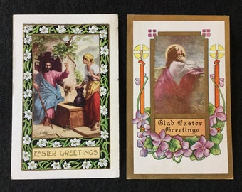 Lot of 2 Antique Uncirculated Easter Postcards - Jesus - FREE USA SHIPPING!