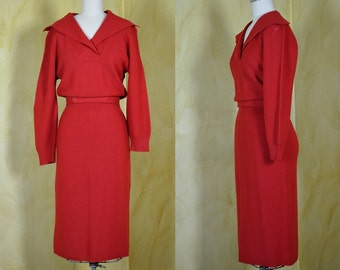 Wolf Whistle! 1950s Red Knit Jonathan Logan Wiggle Dress