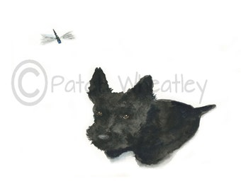 Scottie Dog 'Dragonfly'  Art Greeting card